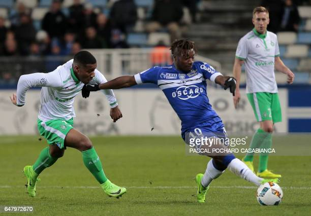 Bastia's French midfielder Allan Saint Maximin vies with SaintEtienne's French defender Ronaël PierreGabriel during the French L1 football match...