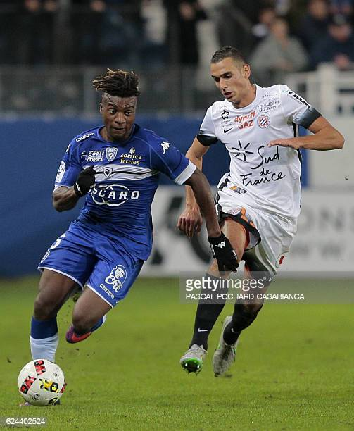 Bastia's French midfielder Allan SaintMaximin challenges Montpellier's midfielder Ellyes Skhiri during the French L1 football match between Bastia...