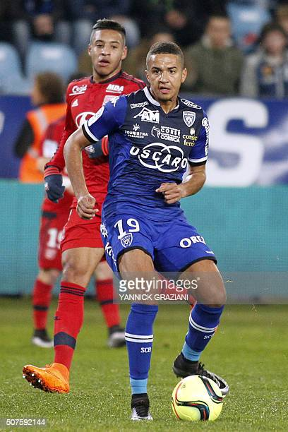 Bastia's French midfielder Axel Ngando controls the ball during the French L1 football match between Bastia and Lyon at Armand Cesari stadium in...