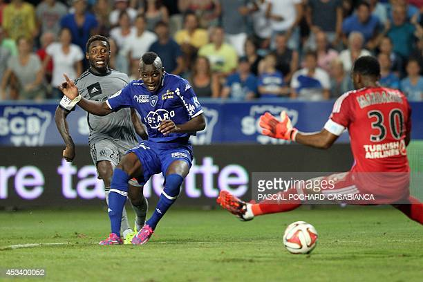 Bastia's French midfielder Christopher Maboulou scores a goal during the French L1 football match Bastia vs Marseille on August 9 2014 at the Armand...