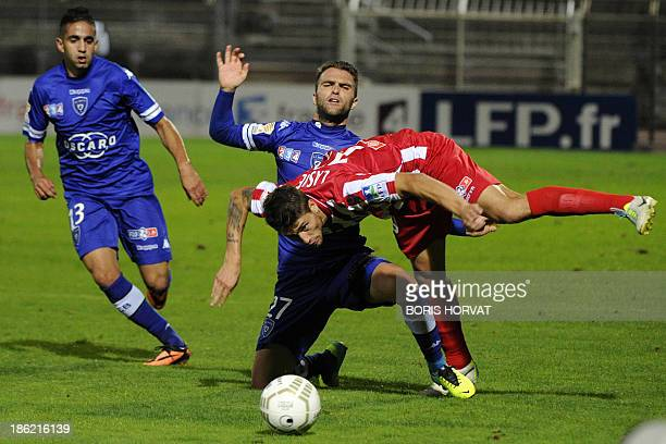 Bastia's French midfielder Julien Sable vies with Ajaccio's French midfielder Paul Lasne during the French League cup football match Bastia vs...
