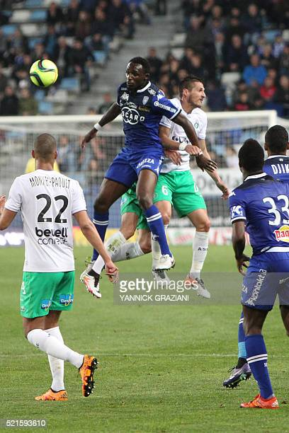 Bastia's French midfielder Seko Fofana vies with SaintEtienne's French midfielder Jérémy Clément during the French Ligue 1 football match between...