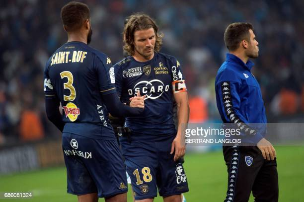 Bastia's French midfielder Yannick Cahuzac gestures following the French L1 football match between Olympique de Marseille and Bastia on May 20 2017...