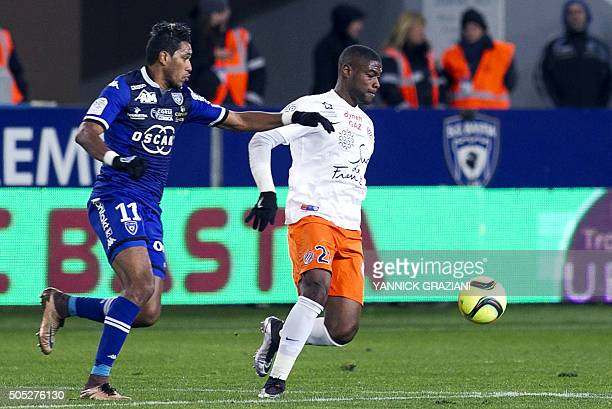Bastia's FrenchBrazilian forward Brandao vies for the ball with Montpellier's Senegalese defender Mamadou N'Diaye during the French L1 football match...