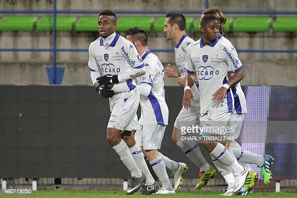 Bastia's Guinean forward Francois Kamano reacts after scoring during the French L1 football match Caen vs Bastia on December 20 2014 at the Michel...