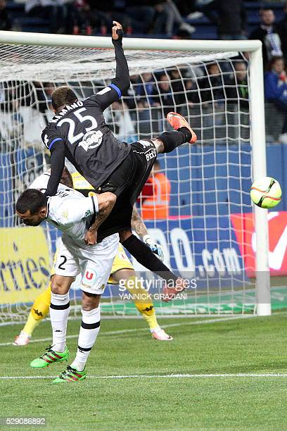 Bastia's Guinean forward Francois Kamano vies with Angers French defender Gael Angoula during the L1 football match Bastia against SCO Angers on May...