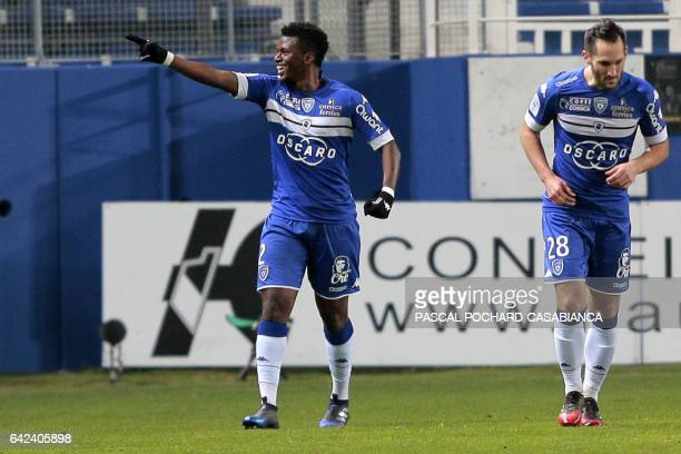 Bastia's Guinean forward Sadio Diallo celebrates after scoring a goal during the French L1 football match Bastia against Monaco on February 17 2017...