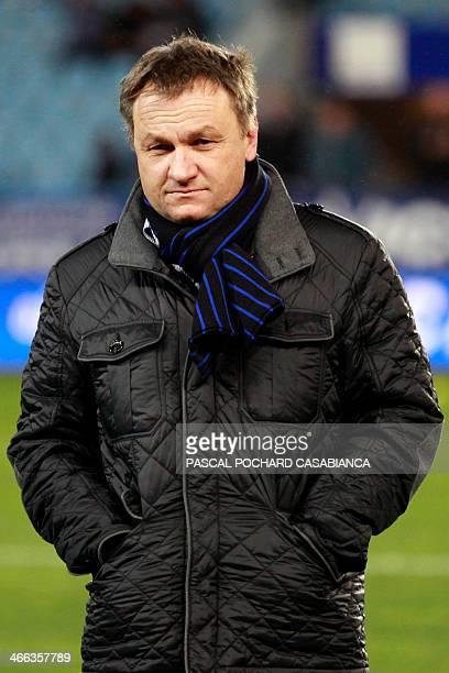 Bastia's head coach Frederic Hantz stands before the French L1 football match Bastia against Guingamp at the Armand Cesari stadium in Bastia in...