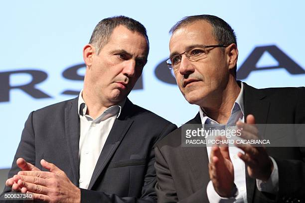 Bastia's mayor and separatist party 'Inseme per a Corsica' candidate Gilles Simeoni and member of separatist party Corsica Libera JeanGuy Talamoni...