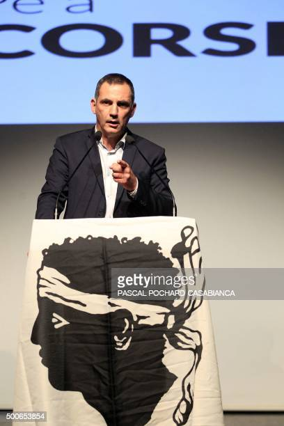 Bastia's mayor and separatist party 'Inseme per a Corsica' candidate Gilles Simeoni delivers a speech during a campaign rally in Ajaccio on December...