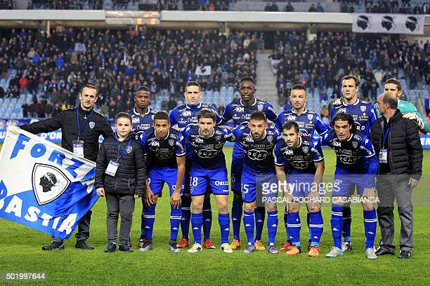 Bastia's players pose before the French L1 football match between Bastia and Reims on December 19 at the Armand Cesari stadium in Bastia on the...