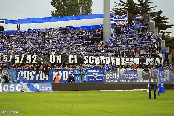 Bastia's supporters pay homage to the victims of the match of May 5 1992 during which 18 persons died after a stand collapse before the French L1...