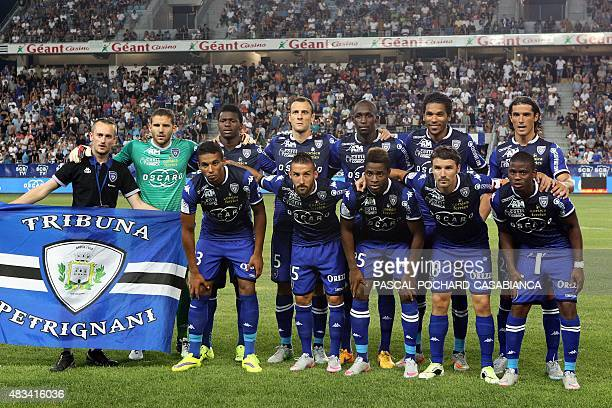 SC Bastia's team pose before the French L1 football match Bastia against Rennes on August 8 2015 in the Armand Cesari stadium in Bastia French...