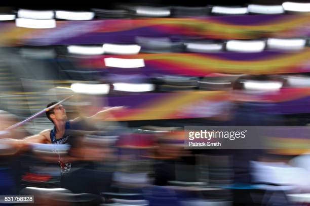Bastien Auzeil of France competes in the Men's Decathlon Javelin during day nine of the 16th IAAF World Athletics Championships London 2017 at The...