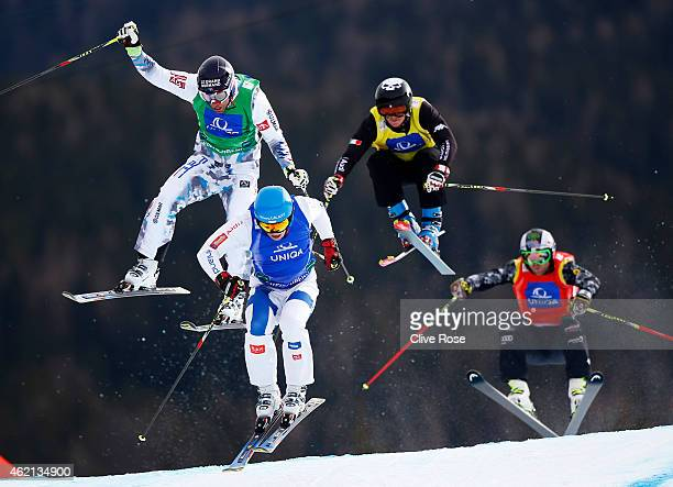 Bastien Midol of France Jouni Pellinen of Finland Marco Tomasi of Italy and Brady Leman of Canada compete in the Men's Ski Cross Finals during the...