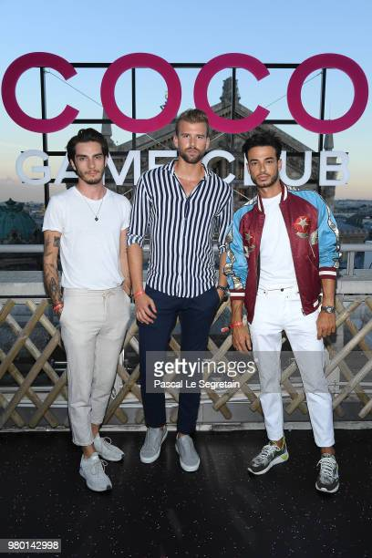 Bastien Treber Corentin Gruson And Jerome Cridlig attend Chanel's Coco Game Club event Photocall at Galeries Lafayette Haussmann on June 20 2018 in...