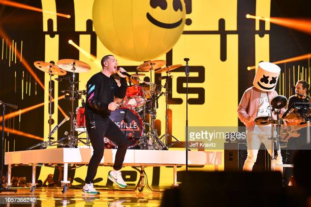 Bastille and Marshmellow performs on stage during the MTV EMAs 2018 on November 4 2018 in Bilbao Spain