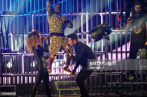 Bastille and Rudimental perform at The BRIT Awards 2014 at 02 Arena on February 19 2014 in London England