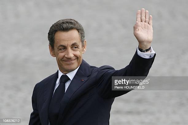 Bastille Day annual military parade in Paris Nicolas Sarkozy in Paris France on July 14th 2010