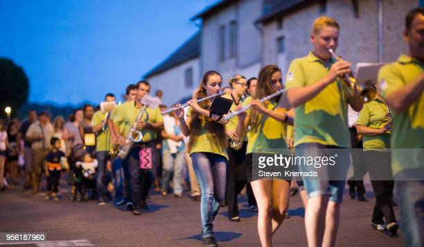 bastille day celebrations in vitteaux, france - bastille band stock pictures, royalty-free photos & images