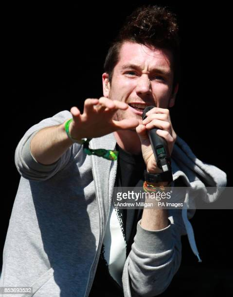 Bastille frontman Dan Smith on the Main Stage at the T in the Park music festival held at Balado Park in Kinross Scotland