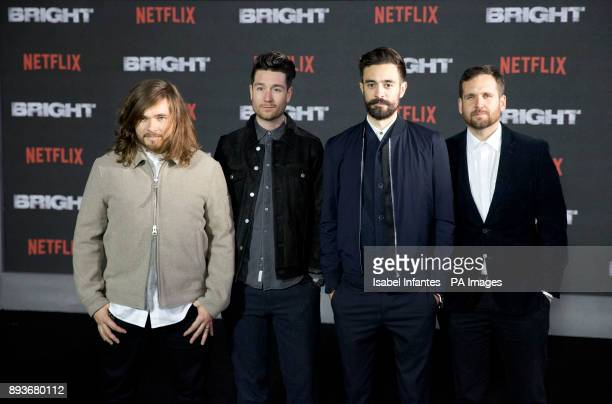 Bastille musicians Chris Wood Dan Smith Kyle Simmons and Will Farquarson arrive for the European premiere of Bright at the BFI Southbank in London