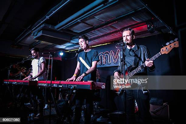 Bastille performs as Bastille meets fans and perform songs from their new album 'Wild World' at HMV Oxford Street on September 14 2016 in London...