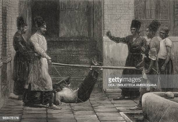Bastinado or foot whipping method of corporal punishment Persia illustration from the magazine The Illustrated London News volume LX June 22 1872