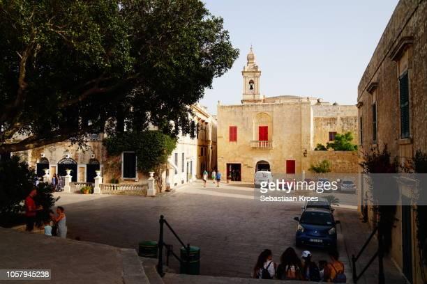 Bastion Square at Dusk, with People, Mdina, Malta