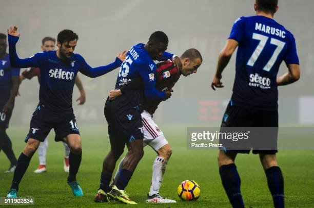 Bastos of SS Lazio competes for the ball with Luca Antonelli of AC Milan during Serie A football AC Milan versus SS Lazio Ac Milan wins 21