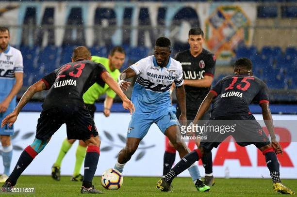 Bastos of SS lazio scores the team's second goal during the Serie A match between SS Lazio and Bologna FC at Stadio Olimpico on May 20 2019 in Rome...