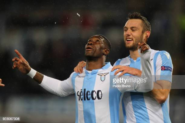 Bastos with his teammate Stefan De Vrij of SS Lazio celebrates after scoring the team's second goal during UEFA Europa League Round of 32 match...
