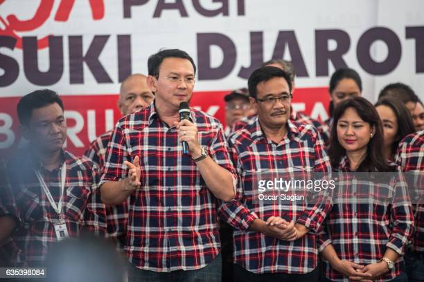 Basuki Tjahaja Purnama speechs during the voting on February 15 2017 in Jakarta Indonesia Residents of Indonesia's capital went to the polls on...