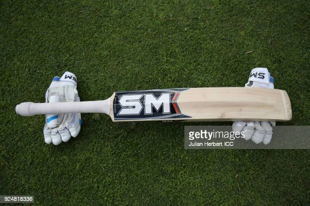 A bat and gloves on the outfield before The ICC Cricket World Cup Qualifier Warm Up match between Afghanistan and The West Indies at The Harare...
