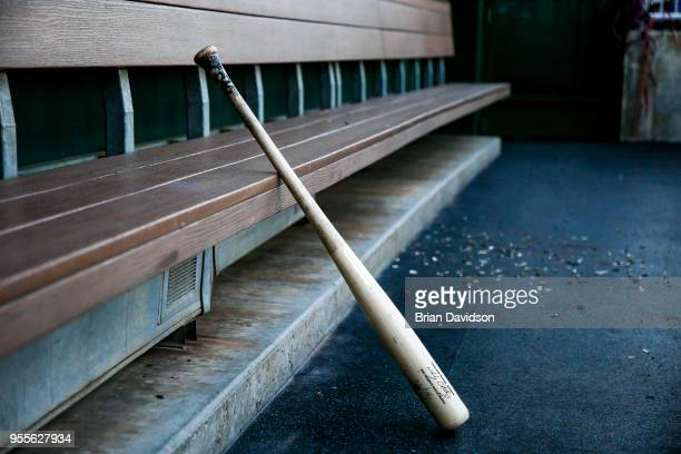 A bat in the Detroit Tigers' dugout before the game against the Kansas City Royals at Kauffman Stadium on May 4 2018 in Kansas City Missouri