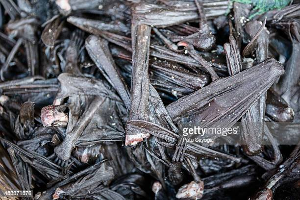 Bat wings for sale at Langowan traditional market on August 9 2014 in Langowan North Sulawesi The Langowan traditional market is famous for selling a...