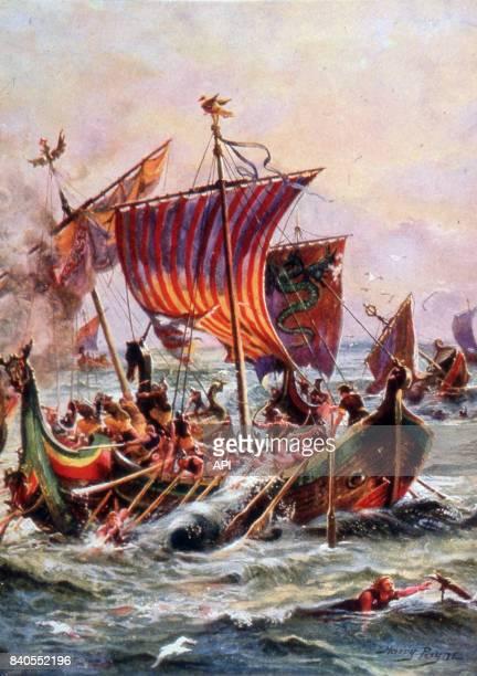 Bataille navale entre la flotte d'Alfred le Grand et les drakkars danois au IXè siècle