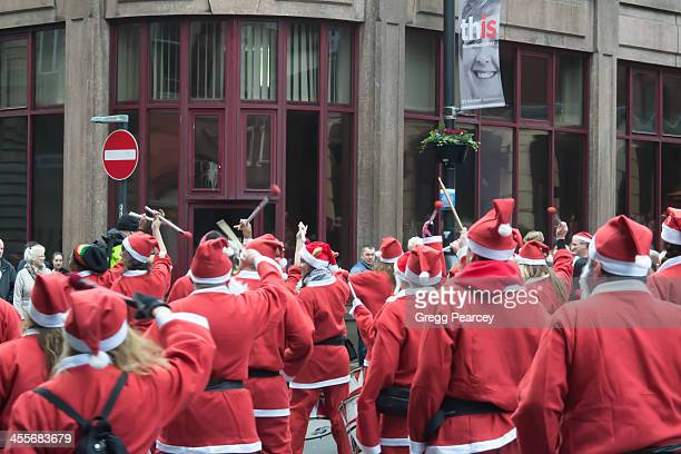 Batala Liverpool drummers at the finish of the Santa Dash 2013, on the corner of Moorfields and Dale Street, taken 1/12/13