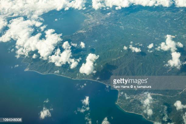 Batangas city and Lobo town in Province of Batangas in Philippines daytime aerial view from airplane daytime aerial view from airplane