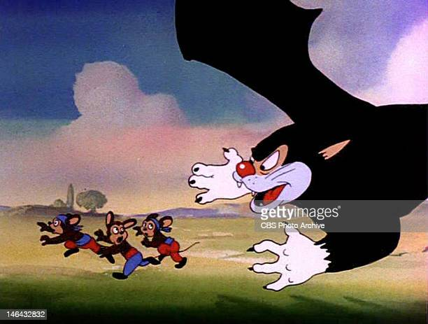 A batcat chasing gypsy mice in the MIGHTY MOUSE episode Gypsy Life Original airdate August 3 1945 Image is a frame grab