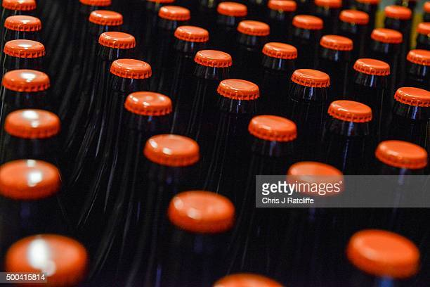A batch of bottled Megawatt Double IPA waits to be labelled at inner city craft beer makers Brixton Brewery on December 8 2015 in London England...