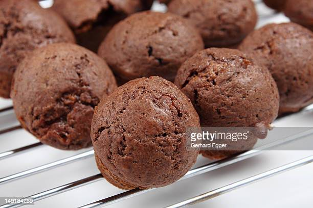 Batch of miniature chocolate muffins