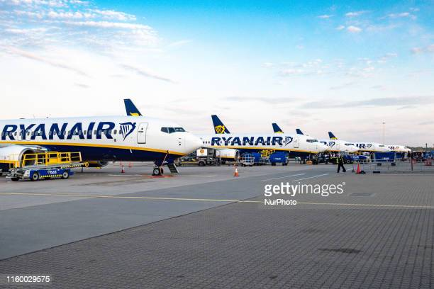Batch of Ryanair airplanes as seen early morning on one of the airline largest hub, parked on the tarmac of London Stansted International Airport STN...