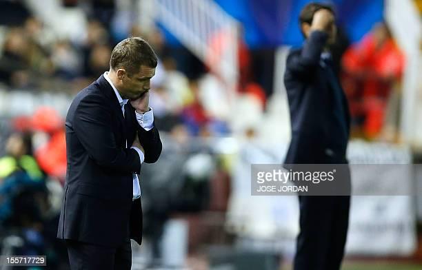 Bate Borisov's coach Viktor Goncharenko reacts during the UEFA Champions League football match Valencia CF vs FC Bate Borisov at the Mestalla stadium...