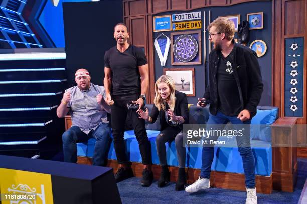 Bateson87 Rio Ferdinand Laura Whitmore and Iain Stirling at the Twitch Prime Crown Cup at the Gfinity Esports Arena July 13 2019 in London England...