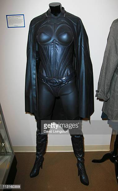 Batgirl costume worn by actress Alicia Silverstone in Batman Robin is displayed at Julien's Auctions Beverly Hills press preview on April 25 2011 in...