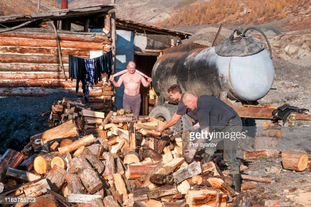 bath after work, for workers (prospectors) in a remote region of eastern siberia - banho russo imagens e fotografias de stock