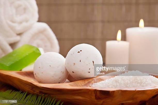 Bath balls and salt in spa, Studio shot
