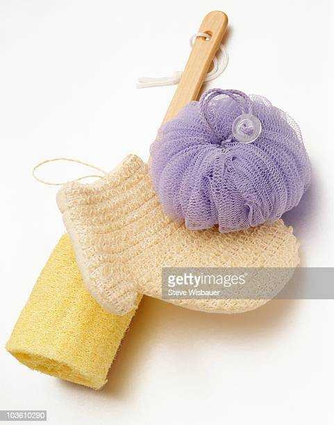 Bath body scrubbers on white