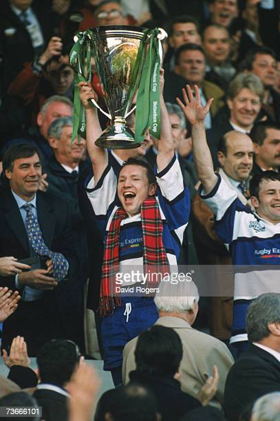 Bath captain Andy Nicol lifting the trophy after his team beat the holders Brive 19 -18 in the final of the Heineken Cup at the Lescure Stadium,...